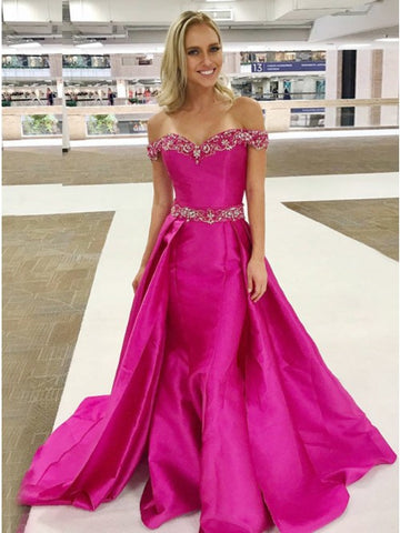 A-Line Off-the-Shoulder Detachable Fuchsia Prom Dress with Beading,5710