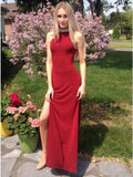 Sheath High-Neck Red Stretch Satin Prom Dress with Beading,5713