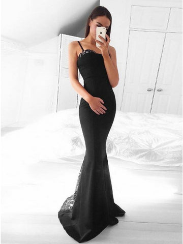Mermaid Spaghetti Straps Floor-Length Black Prom Dress with Lace,5716