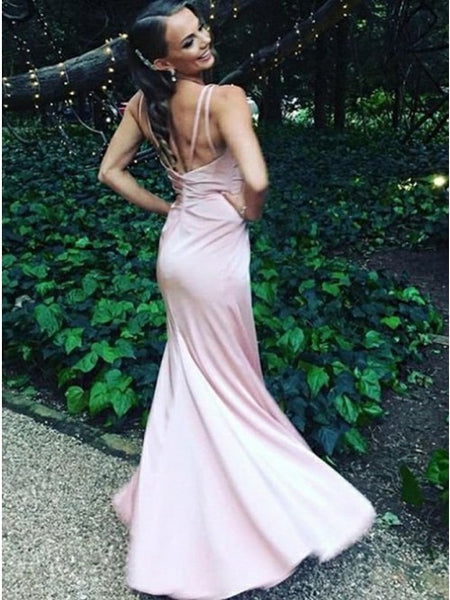 Mermaid V-Neck Sleeveless Pink Stretch Satin Prom Dress with Split,5717