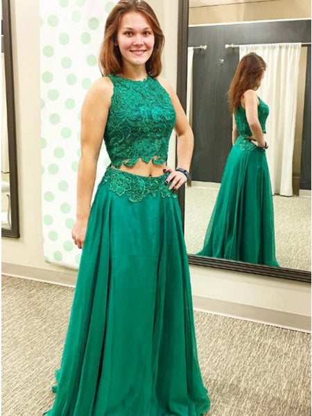 Two Piece A-Line Round Neck Green Chiffon Prom Dress with Lace Appliques,5718