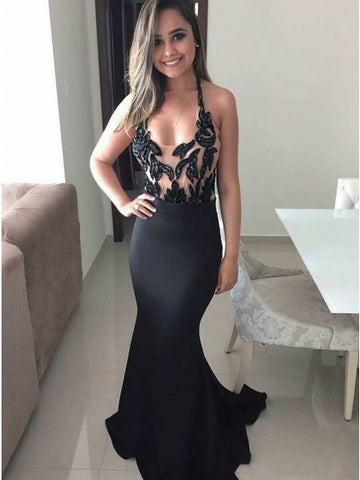 Mermaid Scoop Sleeveless Black Stretch Satin Prom Dress with Appliques,5720