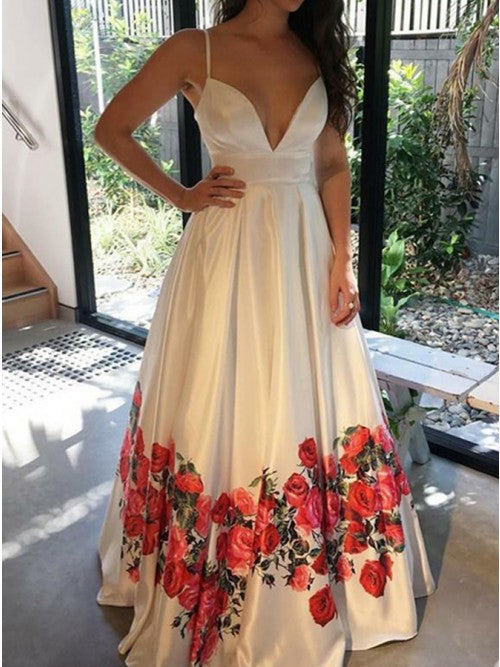 Modest Deep V-neck Sleeveless Floral Printed Prom Dress,5723