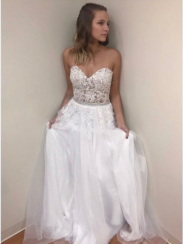 A-line Sweetheart White Lace Up Prom Dress with Lace,5727