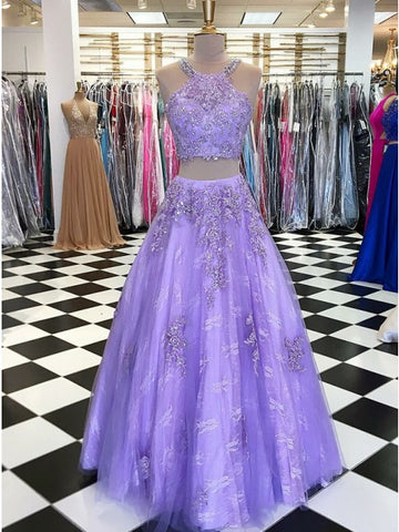 Exquisite Scoop Two Pieces Lavender Lace Prom Dress with Appliques Beaded,5728