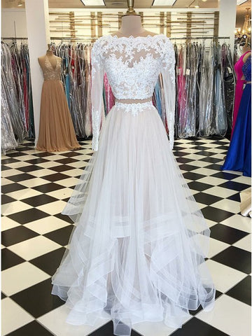 Nectarean Two Pieces White Long Sleeves Bateau Tiered Prom Dress with Appliques,5729
