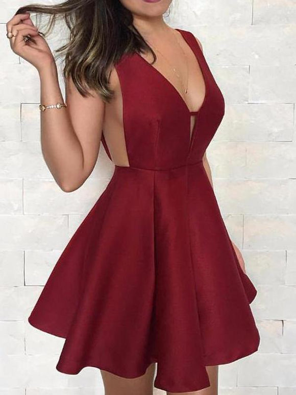 Burgundy Satin V-neck V-back Fashion For Teens Homecoming Dresses,5739