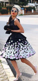 Black Satin Pink Floral Appliques Homecoming Dresses,5742