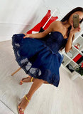 Royal Blue Lace Tulle Sweetheart Strapless Homecoming Dresses,5748