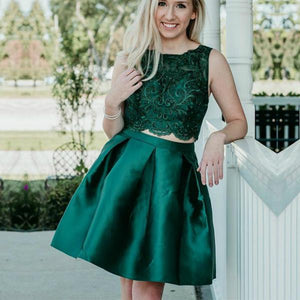 Two Piece Dark Green Beaded Lace Soft Satin Sleeveless Homecoming Dresses,5749