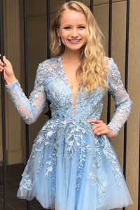 A Line Lace Appliqued Short Blue Homecoming Dress with Long Sleeves,5758