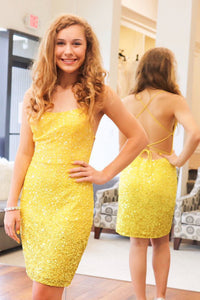 Tie Back Sheath Sequins Yellow Party Dress,5766