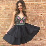 A-Line Spaghetti Straps Short Black Prom Homecoming Dress with Embroidery,5778