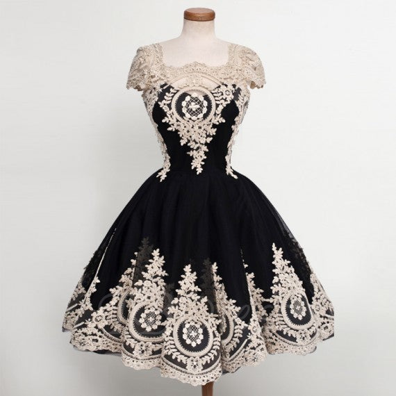 Ball Gown Square Knee-Length Black Tulle Homecoming Dress with Appliques,5786