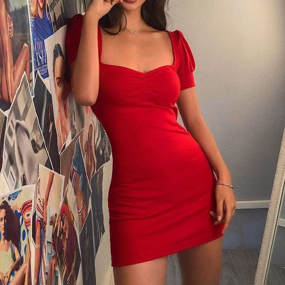 puff sleeves short red homecoming dress ,5798