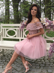 Dusty Pink Tulle Lace Off Shoulder Homecoming Dresses,5832