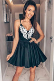 Spaghetti Straps White Appliques Black Homecoming Dresses Short Prom Dress Hoco ,5846