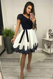 Chic Cap Sleeves V Neck Black Lace White Homecoming Dresses Short Prom Dress Hoco Gowns,5862