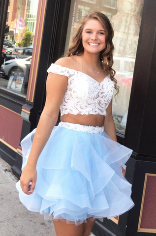 2 Piece White Lace Off the Shoulder Tiered Homecoming Dresses Short Prom Garduation Dress,5870