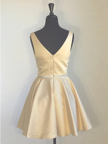 Simple A Line V Neck Real Picture Yellow Short Prom Dress Homecoming Dresses For Party.5884