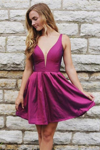 A Line Deep V Neck Plum Cheap Short Homecoming Dresses Prom Hoco Dress Party Gowns,5886