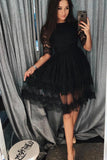 A Line Half Sleeves Black Lace Knee Length Homecoming Dresses Prom Graduation Dress,5887