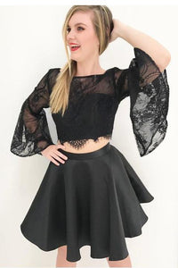 New 2 Pieces Black Lace Horn Sleeves Backless Short Homecoming Dress Prom Cute Dresses,5898