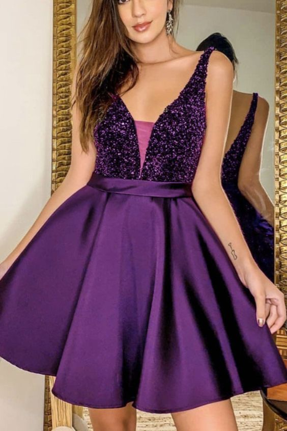 purple homecoming dresses beaded,5918