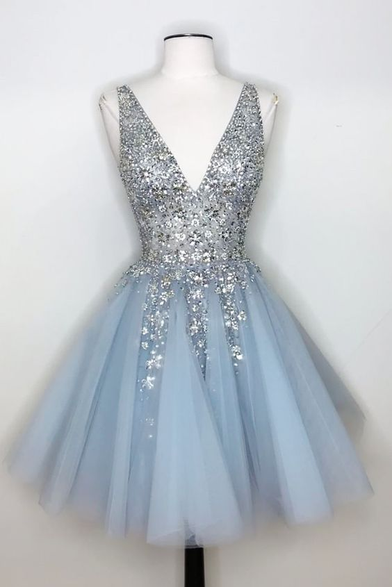 V-Neck Light Sky Blue Homecoming Dress with Sequins,5933