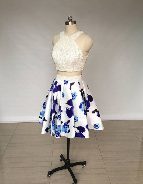 Two Piece Ivory Floral Print Satin Short Homecoming Dress,5935