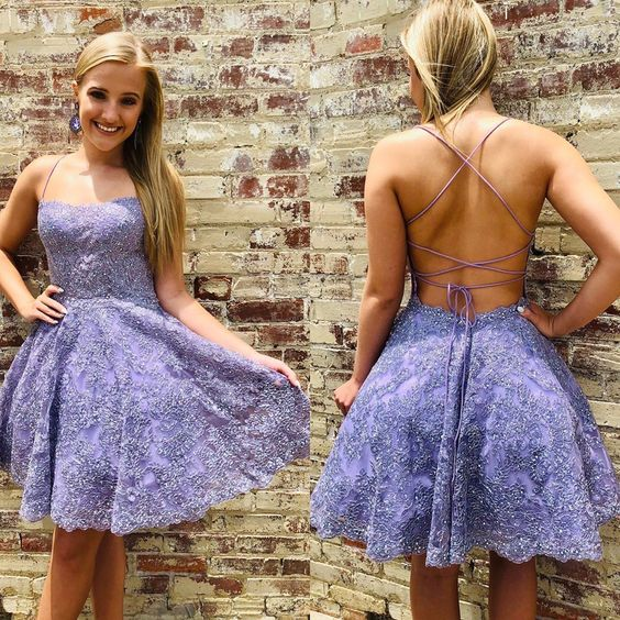 Cute Straps Purple Lace Short Homecoming Dress,5940