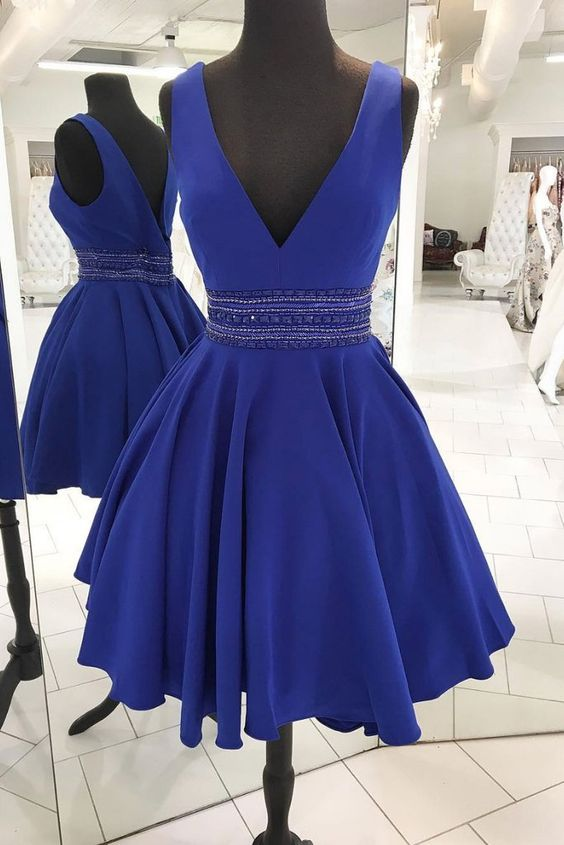CUTE V NECK BLUE BEADS SHORT PROM DRESS, BLUE HOMECOMING DRESS,5948
