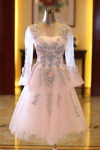Cute Prom Dress,Tulle Homecoming Dress,Appliques Graduation Dress,Long-Sleeves Prom Dress,5951
