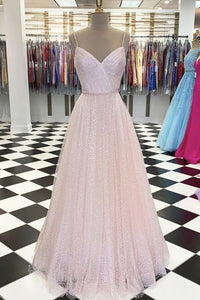 Tulle Prom Dress,Spaghetti Straps Prom Dress,A-Line Prom Dress,Floor-Length Prom Dress,5963