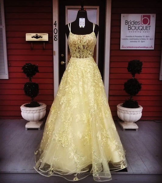 Yellow Prom Dress,Lace Prom Dress,A-Line Prom Dress,Spaghetti Straps Prom Dress.5970