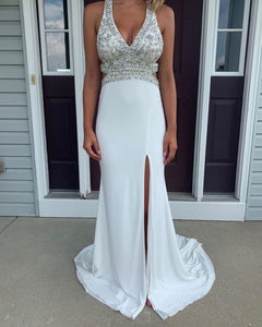 Custom Prom Dress,Mermaid Prom Dress,Satin Prom Dress,Beading Prom Dress,5990