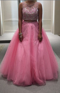 Charming Prom Dress,Beading Prom Dress,2 Pieces Prom Dress,Tulle Prom Dress ,6032
