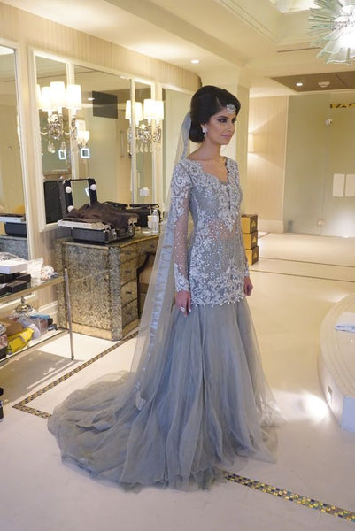 Charming Prom Dress,Appliques Prom Dress Tulle Prom Dress,Long-Sleeves Prom Dress,6034
