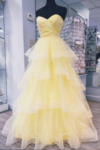 Yellow Sweetheart Tulle Long Prom Dress With Layered Graduation Gown,6047