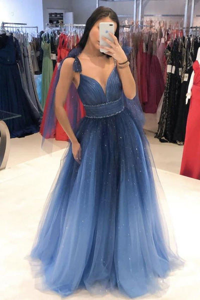 Elegant Ombre Blue Tulle Long Prom Dress Evening Dress ,6056