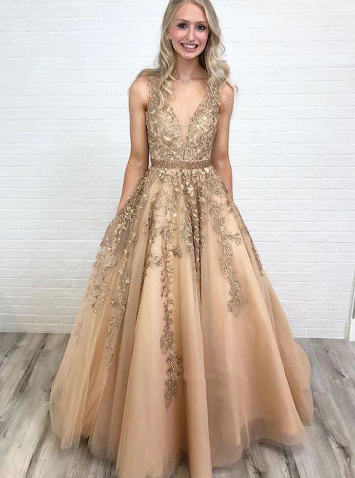 Tulle Lace Applique Long Prom Dress V-neck With Beading,6062