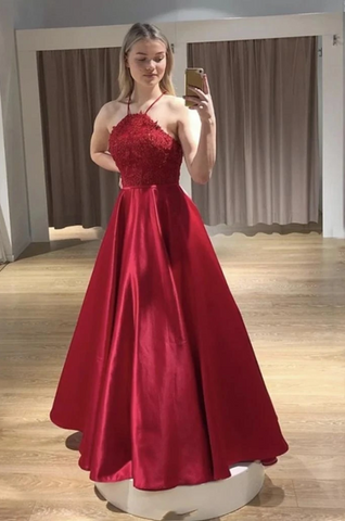 Straps Lace Top Red Long Prom Dress, Satin Graduation Evening Dress ,BP6075