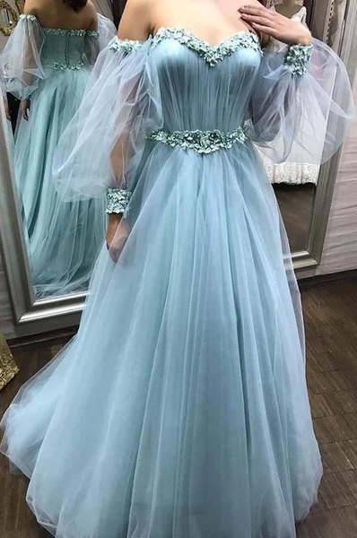 Sweetheart Tulle Long Prom Dress With Detachable Floral Long Sleeves ,BP6078