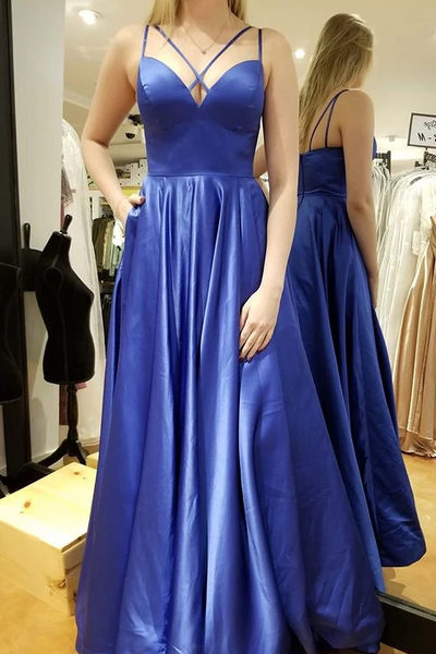 Simple Blue Long Prom Dress, A-line Satin Pockets Evening Gown.6086