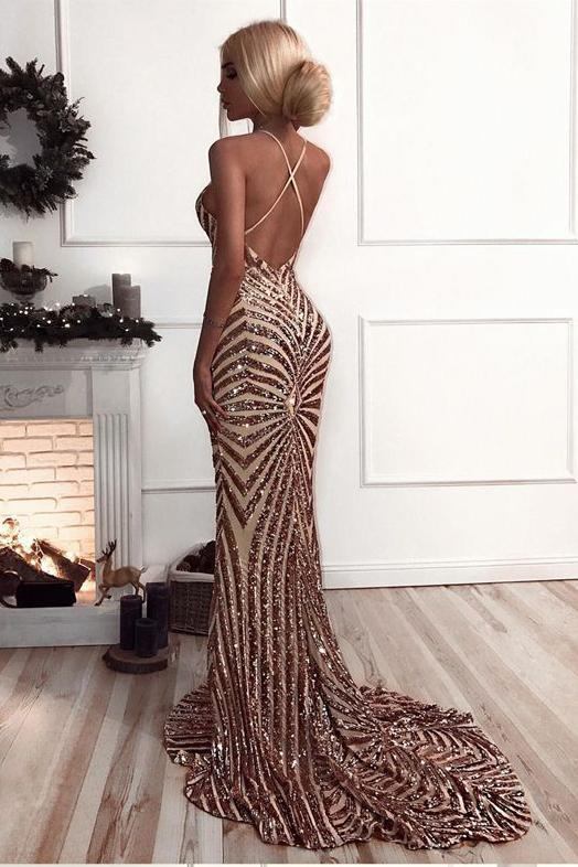 Glitter Backless Mermaid Sequins Sleeveless Long Prom Dress,6103
