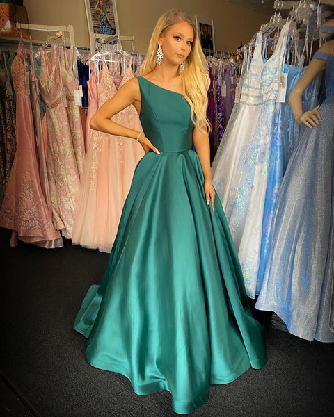 Charming A Line One Shoulder Green Long Prom/Evening Dress,6109