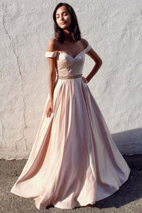 Classic A Line Off the Shoulder Pink Prom Dresses with Beading,6127