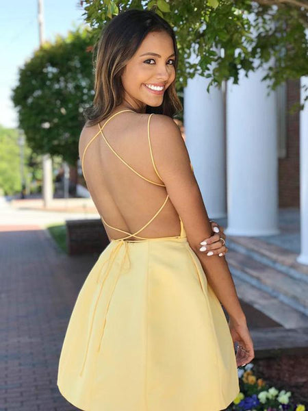 Simple A Line Halter Blue/Yellow/Red Homecoming Dresses with Criss Cross,6160