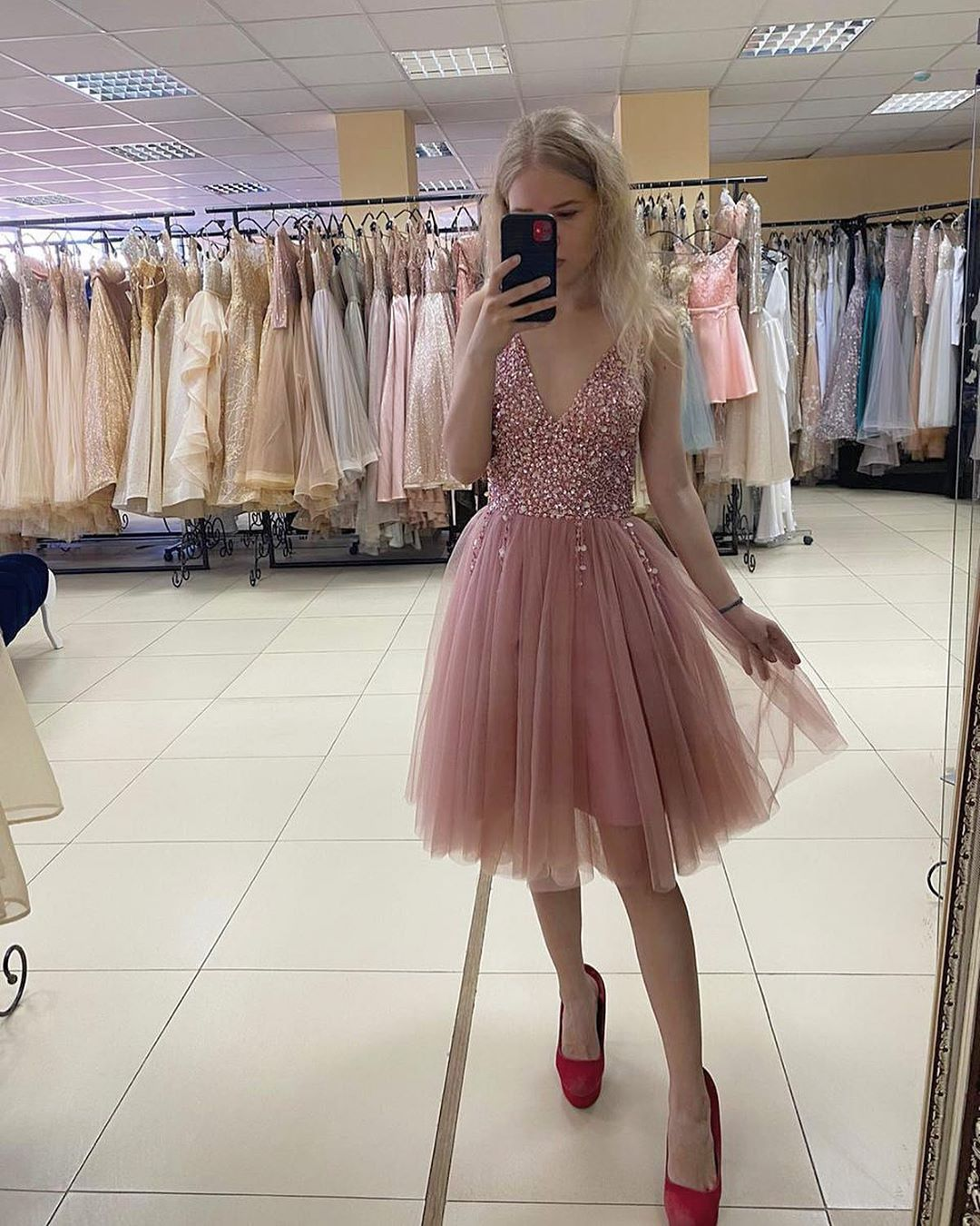 Blush Pink Short Tulle Homecoming Dress,6192