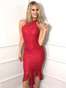 Mermaid Jewel High Low Red Lace Homecoming Dress,6204